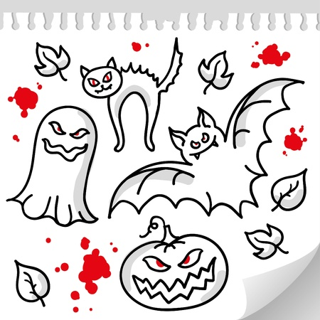 set of funny halloween elements and characters Vector