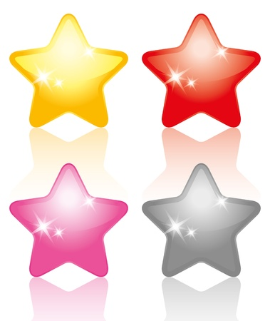 silver star: set of glossy colorful stars on white background