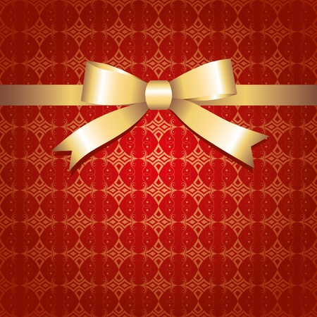 red vintage background with glossy gold bow Stock Vector - 10446814