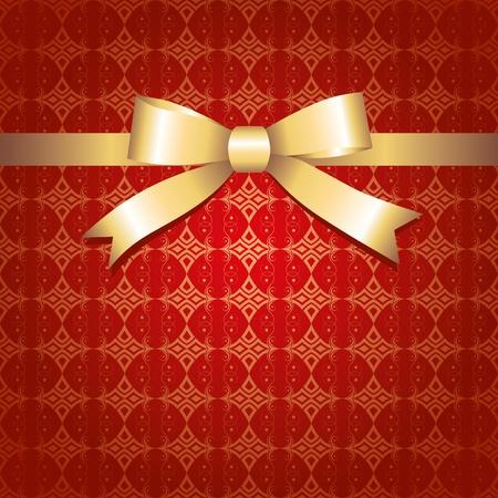 fiocco oro: sfondo rosso annata con fiocco in oro lucido Vettoriali