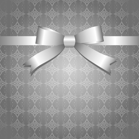 silk ribbon: gray vintage background with glossy silver bow