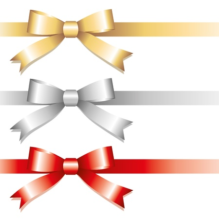 red ribbon bow: set of glossy bows on white background