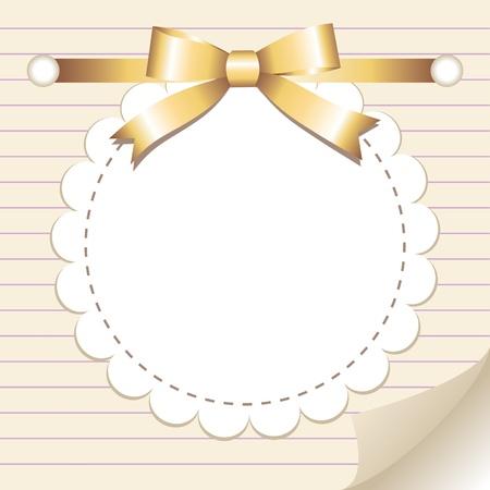 fiocco oro: beige telaio d'epoca con fiocco in oro lucido
