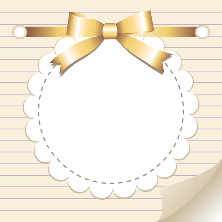 circular frame: beige vintage frame with glossy gold bow