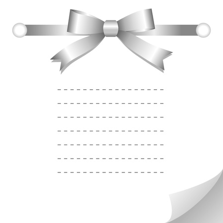 simple white card with glossy silver bow Stock Vector - 10485307