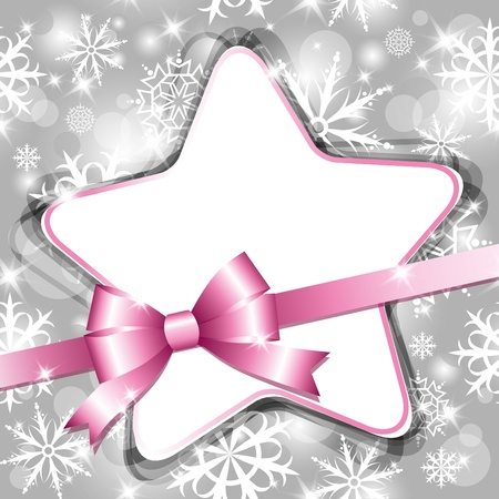 moño rosa: marco Navidad gris con estrella y arco Vectores