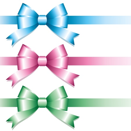 set of glossy color bows on white background Vector