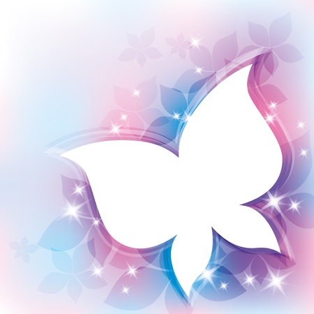 pink butterfly: beautiful abstract background with white butterfly silhouette