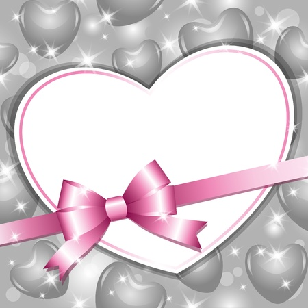 beautiful frame with heart and glossy bow Vector