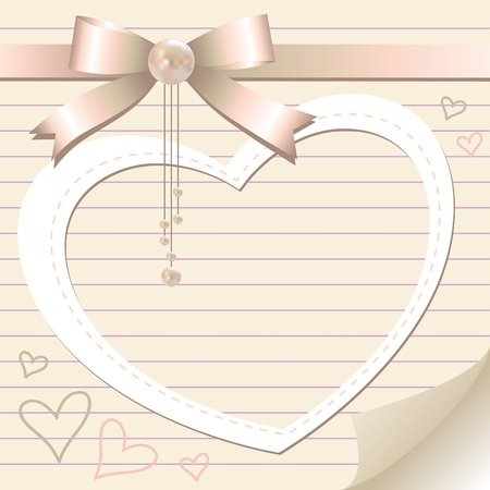 romantic frame with pearl and bow on old paper page  Vector