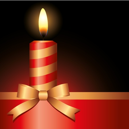 wax glossy: red candle with gold ribbon on black background