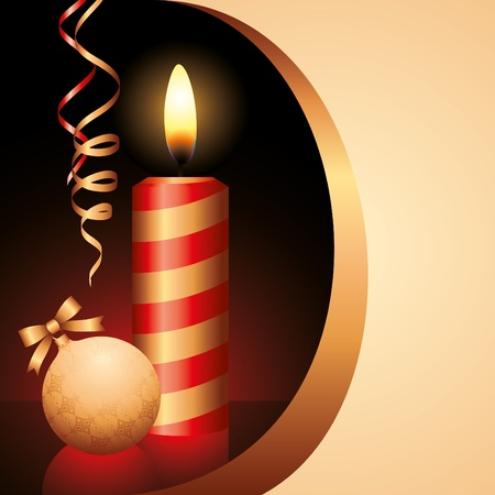 illustration with red candle and gold xmas ball  Illustration