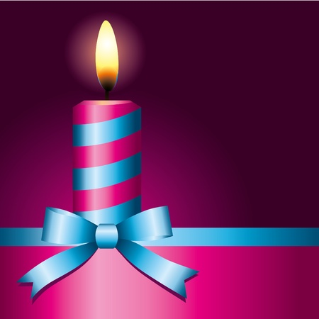 pink candle with blue ribbon on black background Vector