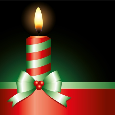 wax glossy: red candle with green ribbon on black background Illustration