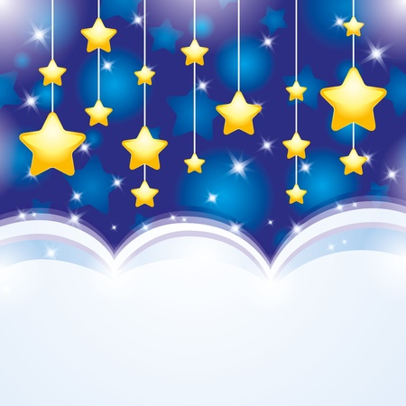 cartoon stars: night background with sky and yellow stars