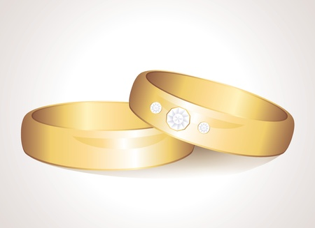 engagement ring: realistic wedding gold rings on white background
