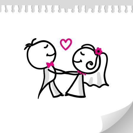 par de boda de dibujos animados sobre hoja de papel realista Ilustración de vector