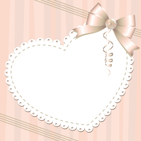 pearls and threads: gentle background with glossy bow and pearl Illustration