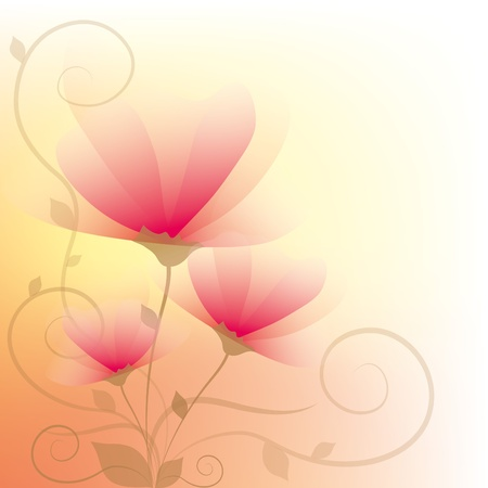 beautiful floral abstract background with beige curls Vector
