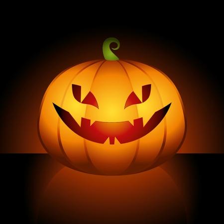 stylized orange halloween pumpkin on black background Vector