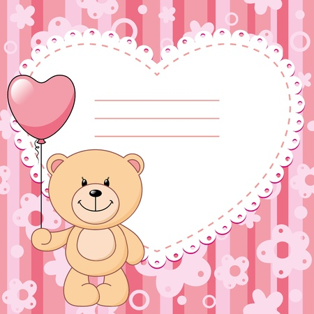 pink child background with teddy bear and balloon Vector