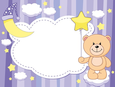 violet child background with moon and teddy bear Vector
