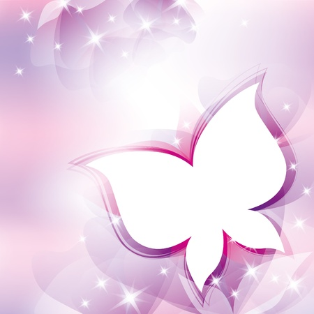 beautiful violet abstract background with white butterfly Vector