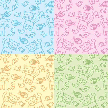 hand drawn seamless patterns with funny cats Vector