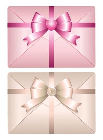 moño rosa: dos sobres realistas con arcos brillantes sobre fondo blanco Vectores