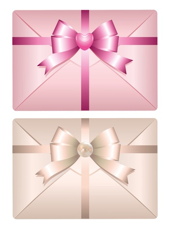two realistic envelopes with glossy bows on white background Vector