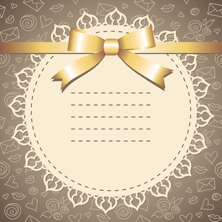 dark beige: vintage frame with lace and gold bow
