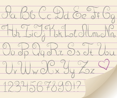 tiras comicas: alfabeto gris en la hoja de papel antiguo realista Vectores