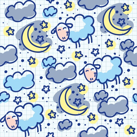 seamless sky: hand drawn seamless pattern with moons and sheeps Illustration