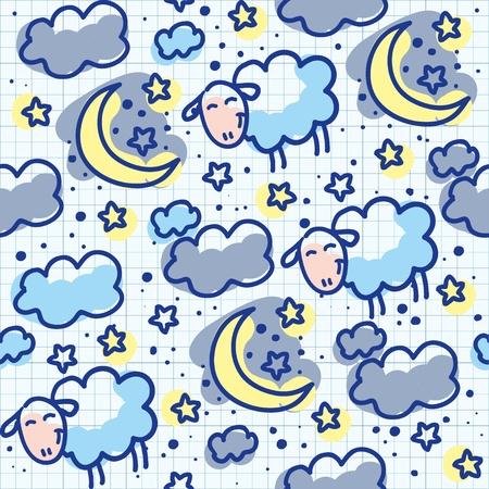 lullaby: mano dibujada patr�n transparente con lunas y ovejas
