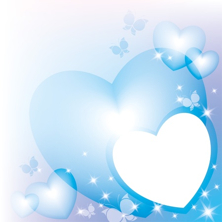 abstract frame with blue hearts and sparks Vector