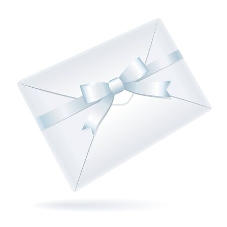 realistic white envelope with bow on white background