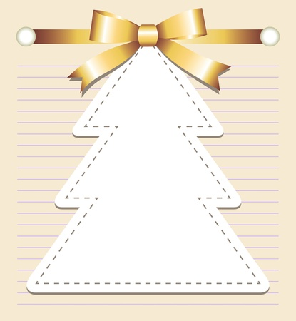 christmas tree with bow on old page Vector