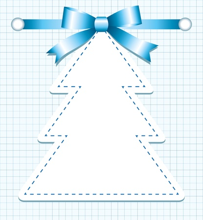 christmas tree with bow on blue page Vector