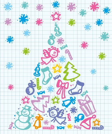 hand drawn stylized xmas tree on paper Vector
