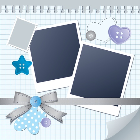blue frame for photos with scrapbook elements Vector