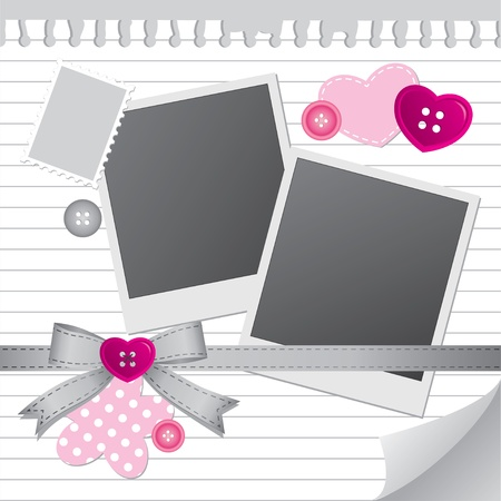photo corner: white frame for photos with scrapbook elements
