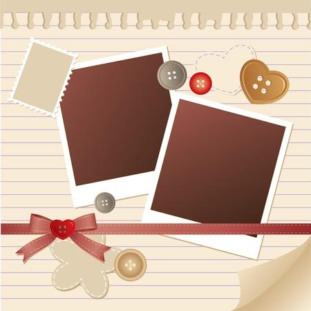 strip shirt: beige frame for photos with scrapbook elements Illustration