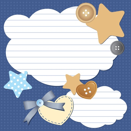 frame with paper clouds and scrapbook elements Vector