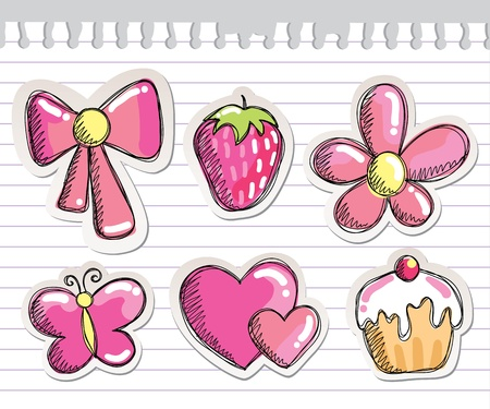 butterfly bow: set of romantic hand drawn elements on paper sheet