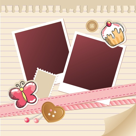 beige frame for photos with scrapbook elements Vector
