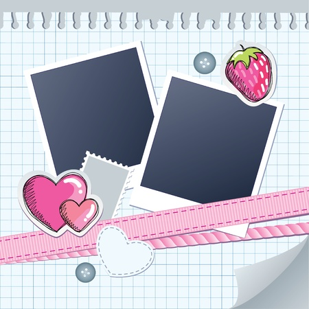 album: cute frame for photos with scrapbook elements Illustration