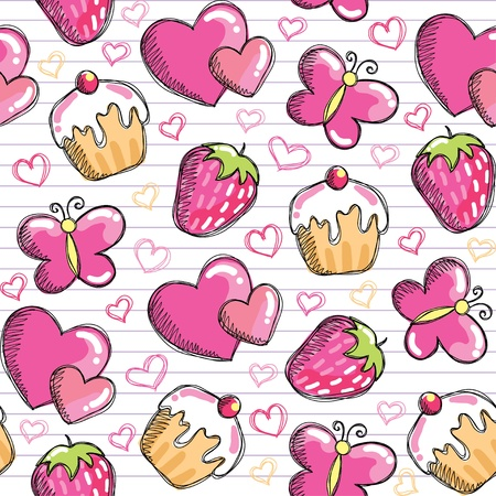 cartoon butterfly: Funny rosa patr�n transparente con elementos dibujado a mano