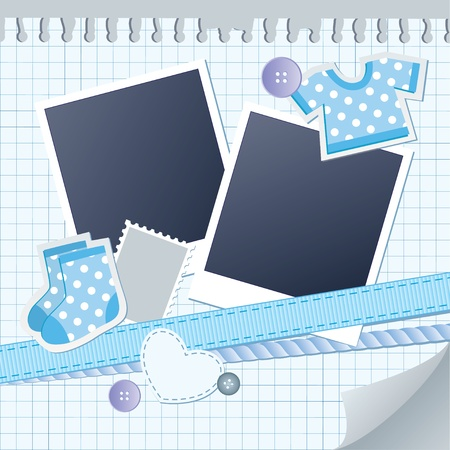 baby frame for photos with scrapbook elements Vector