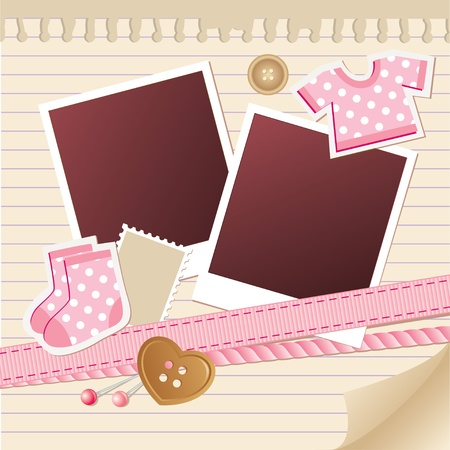 photo album page: baby frame for photos with scrapbook elements