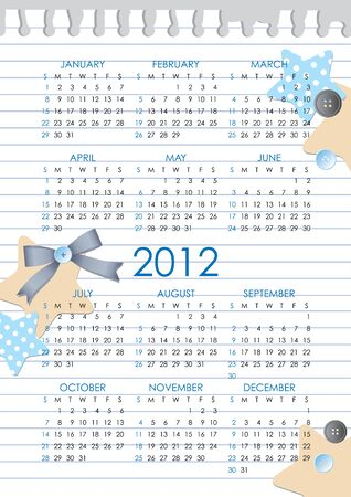 calendar grid of 2012 year on realistic paper sheet Vector